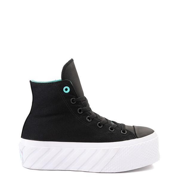 Main view of Womens Converse Chuck Taylor All Star Hi Lift 2X Platform Sneaker - Black / Electric Aqua