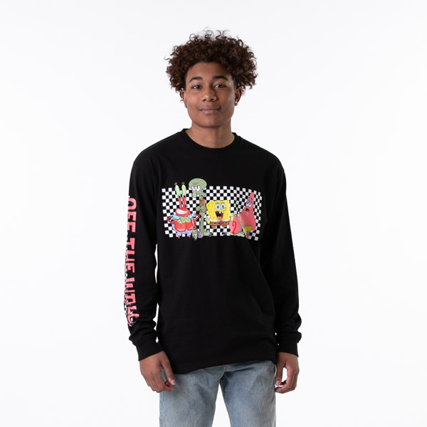 Main view of Mens Vans x SpongeBob Squarepants™ Long Sleeve Tee - Black