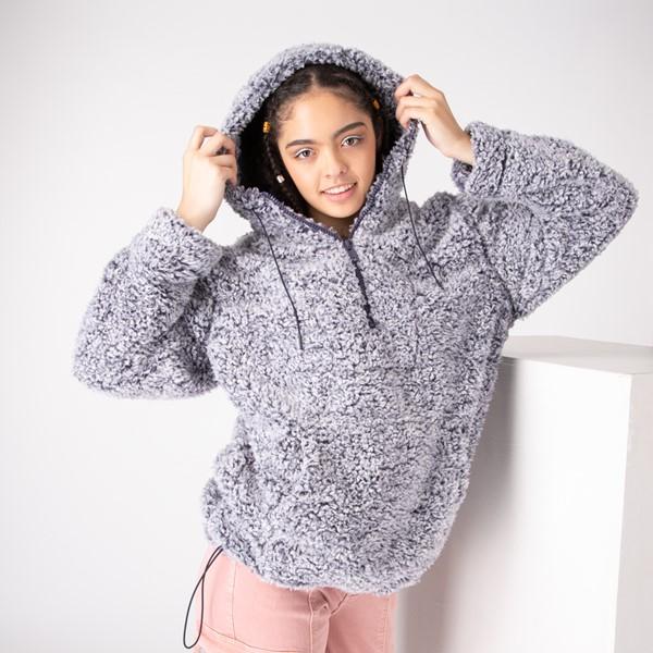 Womens Sherpa Pullover Hoodie - Navy